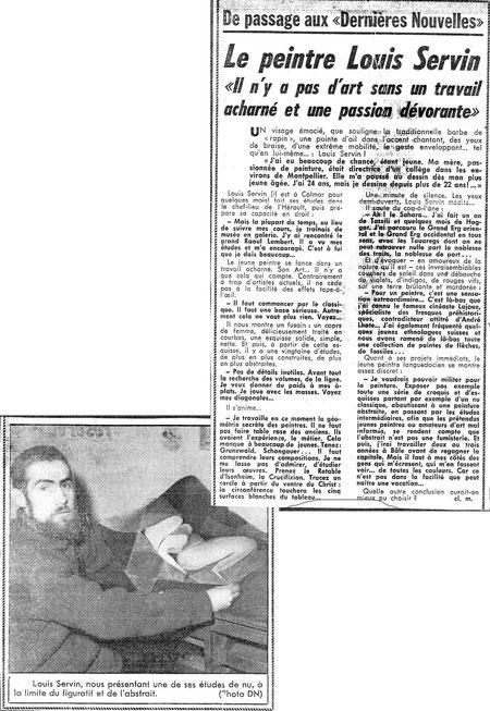 premier article de presse sur SERVIN, - 1964
