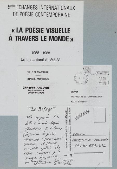 """documents relatifs à l'expo itinérante """"la Poésie visuelle à traavers le Monde"""" 1988"""