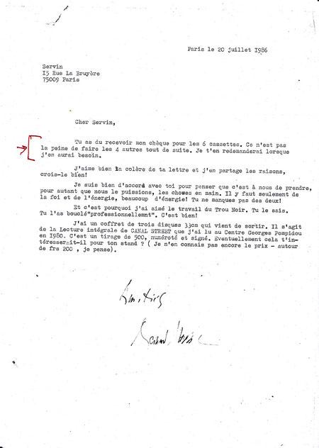 Autre lettre de Bernard Heidsieck à SERVIN