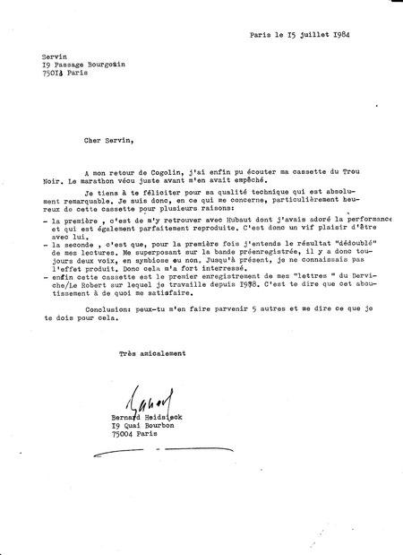 Lettre de Bernard Heidsieck à SERVIN