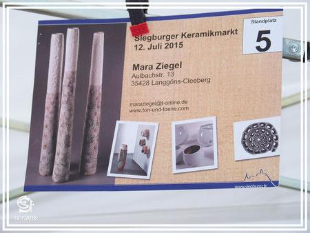 """Töpfermarkt Siegburg Standplatz-Nummer """"Ton und Töne"""""""