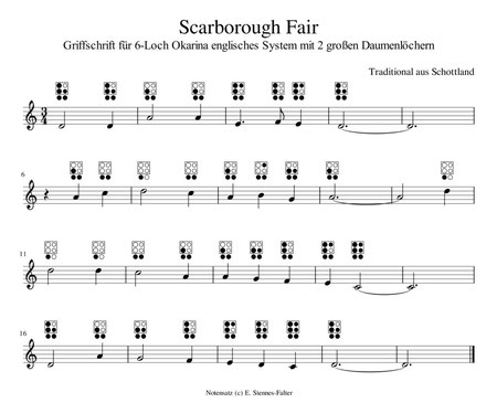 Scarborough Fair Noten mit Tabs für englisches Cross-Fingering