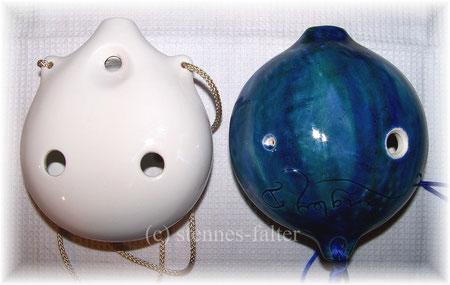 Vergleich der Daumenlöcher - Mozart-Ocarina Rotter - Langley Bass-Ocarina