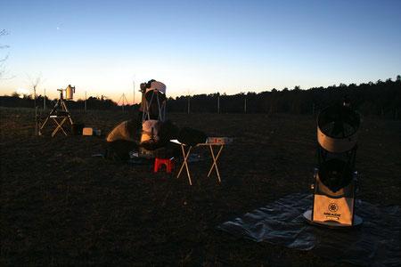Campo de observación completo con Venus y Mercurio al fondo.