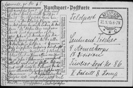 Feldpost an Carl Fischer 1915