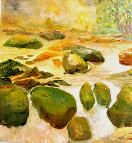 """""""Der Weg des Wassers"""" Ölbild  100 B x 100 H cm"""