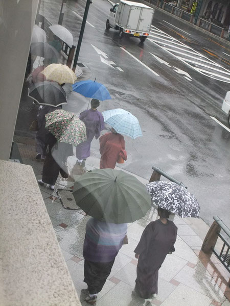 Groupe de maïko (apprentis geïko) se rendant à leur école