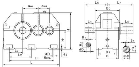 Габаритные и присоединительные размеры редукторов 1Ц2У-315Н; Ц2У-355; 1Ц2У-400Н цилиндрических двухступенчатых горизонтальных с зацеплением Новикова.