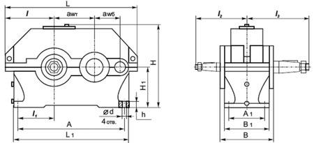 Редукторы типа 1Ц2У-100, 1Ц2У-125, 1Ц2У-160, 1Ц2У-200, 1Ц2У-250 цилиндрические горизонтальные одноступенчатые. Габаритные и присоединительные размеры.