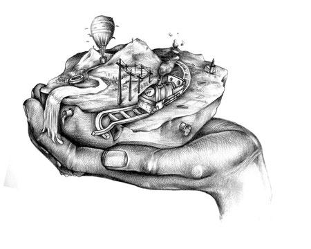 Hände gestikulieren Weltreisen