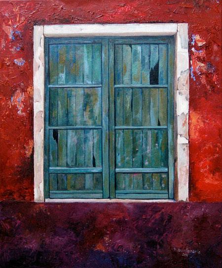 Ventana Verde 2011, óleo sobre lienzo 46X38 cm
