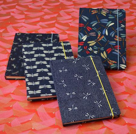 handgebundene Notizbücher, Notizbuch , Stoff , Japan, Libelle
