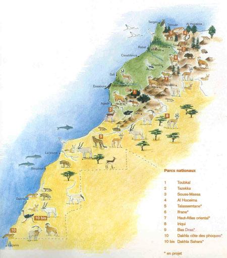Carte des parcs nationaux du Maroc