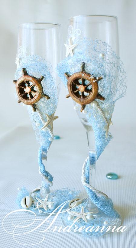 Свадебные бокалы Остров сокровищ, стоимость 800 грн (штурвал ручной работы, также возможно использование спасательного круга, якорька и др. элементов)