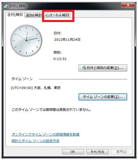 Windows7 インターネット時刻
