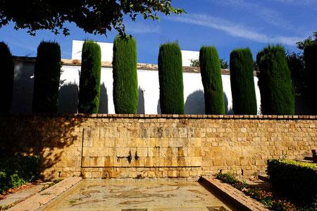 Photographie, Espagne, Andalousie, Cordoue, alcazar, jardins, architecture, bassins, haies, vert, ocre, matière, couleurs, voyages, vacances, Mathieu Guillochon.