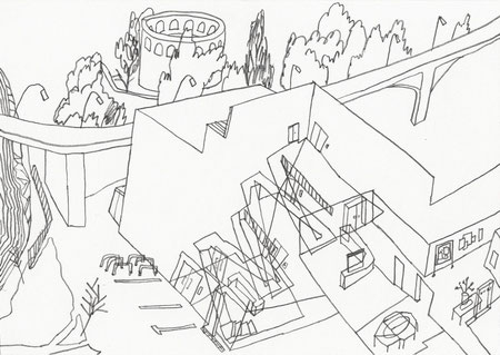 Treppenaufgang Institut . 2015 . Bleistift auf Papier . 10 x 15 cm