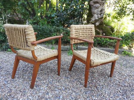 Adrien AUDOUX et Frida MINET paire de Fauteuils Bridge édition Vibo 1950 audoux minet fauteuil corde vintage design