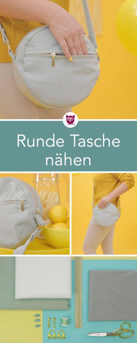 #RundeTascheRuby aus dem #DIYeuleBuch : kleine runde Handtasche mit Reißverschluss und Außenfach nähen. Runde Taschen sind wieder voll im Trend! Auch für Anfänger geeignet. Schnittmuster und Nähanleitung von DIY Eule.