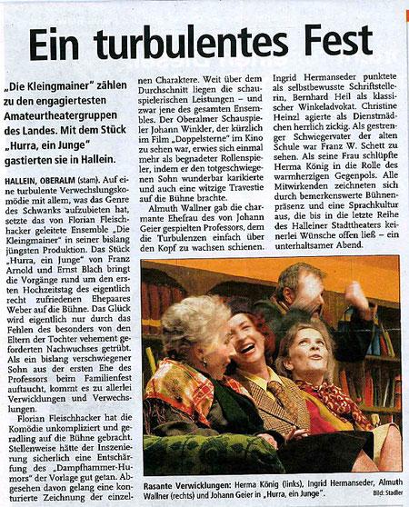 """""""Hurra, ein Junge"""" eine turbulente Verwechslungskomödie (Tennengauer Nachrichten, 8.3.2004)"""