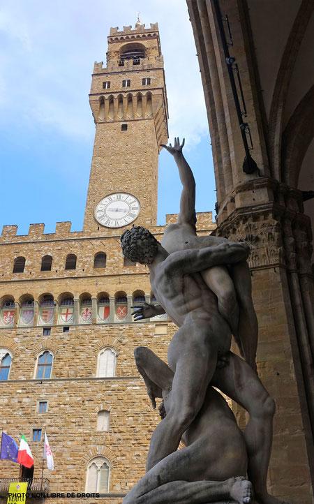 L'enlèvement des Sabines, Piazza della Signoria, photo non libre de droits