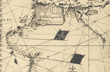 Fac similé photographique précoce (c. 1900) du planisphère de Nicolas Desliens de 1541, raremaps.com (Barry Lawrence Ruderman) extrait