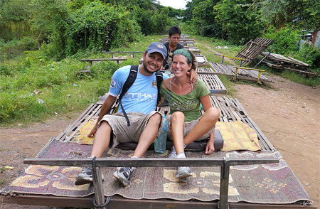 on the bamboo train in Battambang, Cambodia