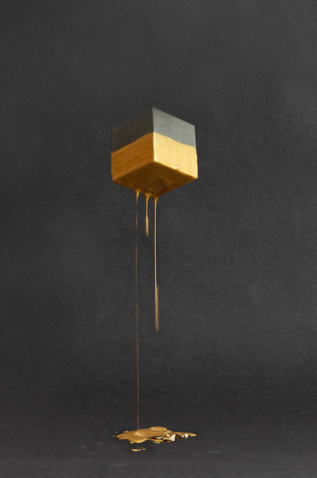 Celebration With A Concrete Cube Golden Shower by PASiNGA art & photography