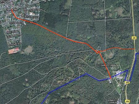 Limeswanderweg (blau) , Weg von der Saalburg nach Obernhain (rot)
