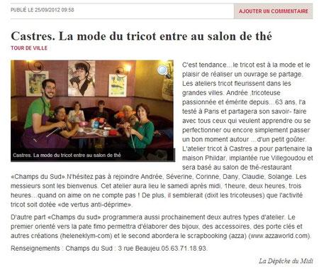 Article La Dépêche du Midi atelier tricot au Champs du Sud