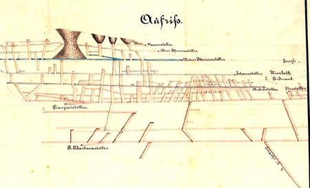 Ausschnitt aus einer Grubenkarte von 1872