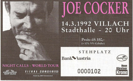 Joe Cocker, Villach, Ticket