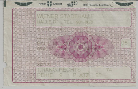 Paul McCartney - European Tour ´93 - Wiener Stadthalle 05. September 1993