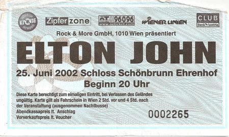 Elton John Schloss Schönbrunn Wien 25. Juni 2002