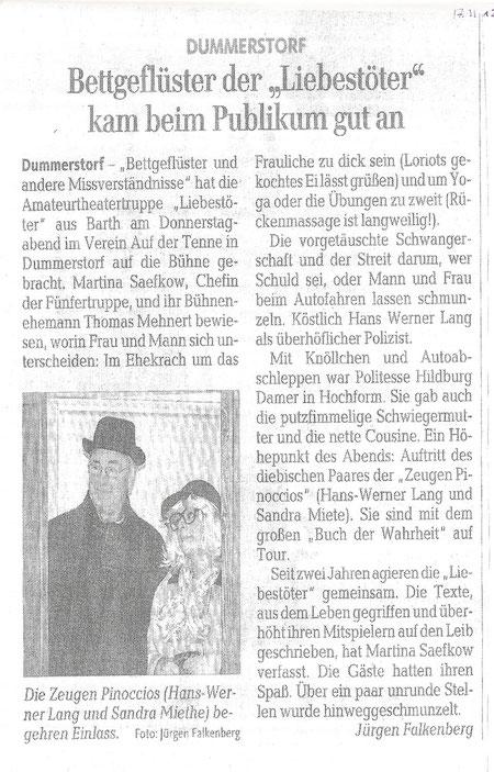 """OZ Artikel über Auftritt  der """" Liebestöter"""" in Dummerstorf"""