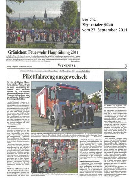 Bericht Wynentaler Blatt vom 27. Sept. 2011