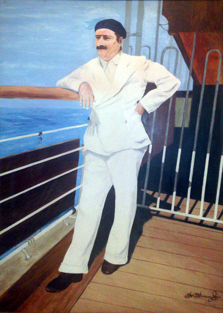 Baba returning from France to India on the SS Circassia, 1937. Painting by Anthony Zois.