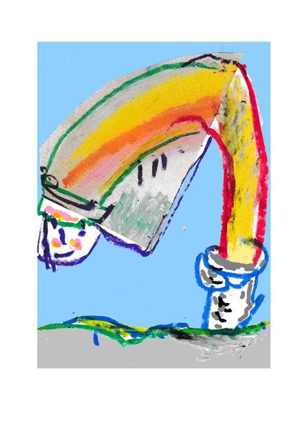Landschaft, Regenbogen, Regen, Sonne, Sommer, Farben, Gelb, Rot, Grün, Kontur, Collage, Figur, abstrakt, Gesicht, expressiv, Gesicht, Lächeln, Himmel, Blau, Zeichnung, Expressionismus Ölkreide, Grafik, Druckgrafik, Unikat