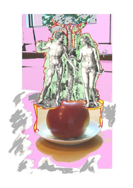 Adam, Eva, Paradies, Akt, Mann, Frau, Albrecht Dürer, Verführung, Sünde, Schlange, Apfel, pink, lady, Stillleben, Nacktheit, Feigenblatt, Garten, Paradies, Fotomontage, Grafik, Kupferstich, Zeichnung, Pastell, Balance, Colorieren, Tisch,pink lady, Bibel