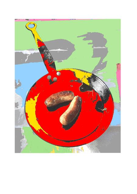 kulinarisch, Essen, Trinken, Messer, Gabel, Pfanne, Hitze, Glut, Eisen, Braten, Herd, Kochen, Bratwurst, Installation, Gourmet,Druckgrafik, druckgrafik kaufen, Bilder kaufen, Kunst kaufen, Kunst online kaufen, Kunst online,Popart