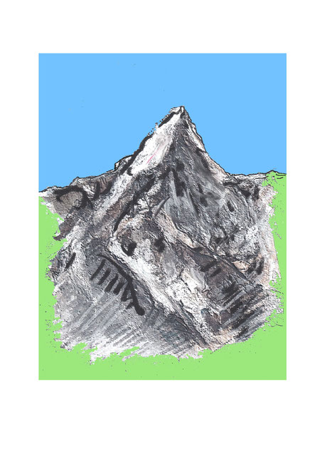 Studie, Naturstudie, Berg, Fels, Mount Everest, Schnee, Eis, Himalaya, Trecking, Klettern, Bergsteiger, Lawinen,  Gefahr, Gebirge, Druckgrafik, druckgrafik kaufen, grafiken kaufen, Bilder kaufen, Kunst kaufen, Kunst online kaufen, Kunst online