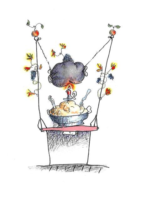 kulinarisch, Essen, Trinken, Messer, Gabel, Knochen, Kerzenlicht, Schüssel, Fett, Schmalz, Blut, Kartoffel, Kartoffelbrei, Weinblätter, Installation, Kaviar, Gourmet, Wärmeplatte, Schaukel, Tisch, Tischplatte, Feinschmecker, Metzger, Schlachtplatte I