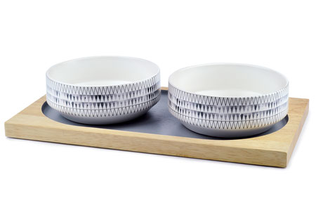 hundestrand Hundenapf Doppelnapf Design Holz Keramik Siupra Set 51 Degrees North