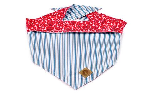 Hundestrand Hundehalstuch Halstuch blau gestreift Streifen anker rot