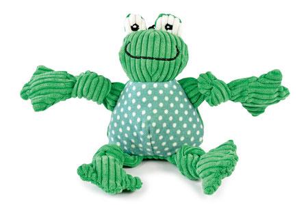 Hundestrand Hundespielzeug Frosch Frog Knottie HuggleHounds