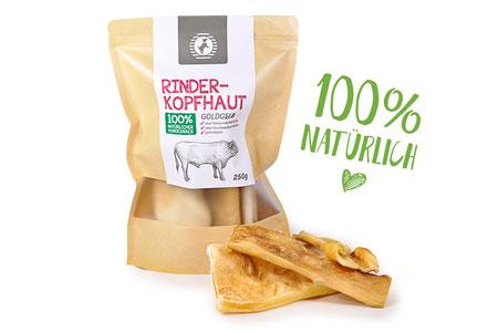 Hundestrand Leckerlies Hundesnack Snack Rind Rinderkopfhaut Kopfhaut goldgelb