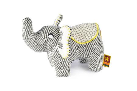 Hundestrand Hundespielzeug Stoffspielzeug Resploot Elefant grau gelb Design