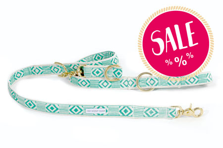 Hundestrand Hundeleine Leine grün weiß gold Out Of My Box Teal and Cream See Scout Sleep
