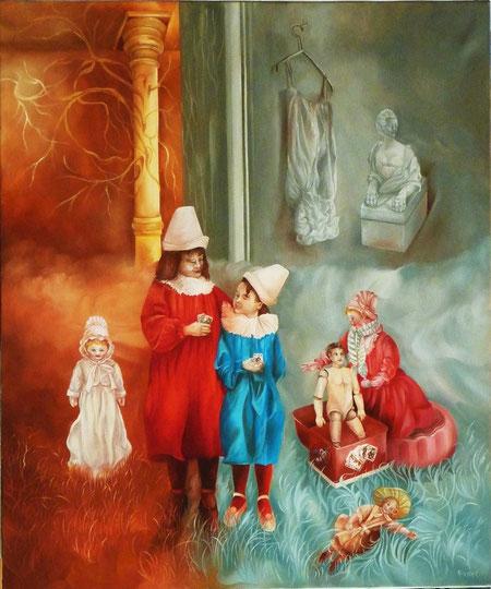 Les Magiciens. Huile sur toile. 65 x 54 cm.