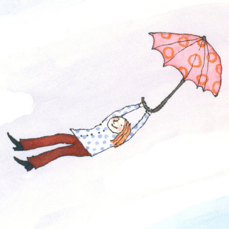 Lola Renn Illustration mit Regenschirm fliegen